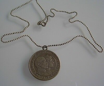 1923 Denmark Sterling Silver Coin Pendant Necklace Commemorative Royal Wedding