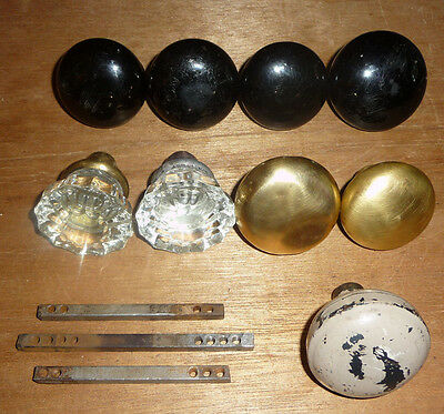 Mixed Lot of 9 Vintage Door Knobs and 3 Posts