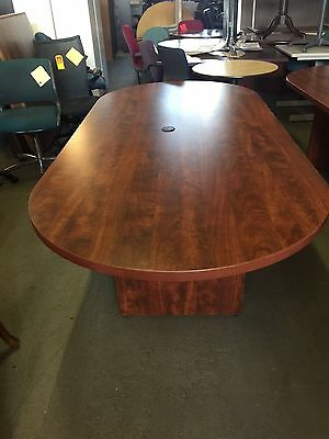 OVAL SHAPE CONFERENCE TABLE in CHERRY COLOR LAMINATE 8ft L