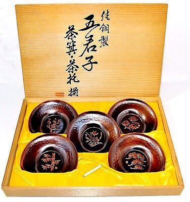 "Japanese Pure copper saucer 5pc ""Chataku"" TEA CUP TRAY Tea Ceremony"