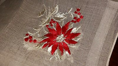 Vintage White Handkerchief with White and Red Embroidered Flowers