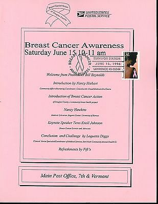 US FDC #3081 USPS Sheet 1996 Lawrence KS Breast Cancer Unofficial Pictorial