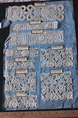 15 Antique 19thC French Hand Loomed Embroideries With Tags~2 Sides~Dolls,Design