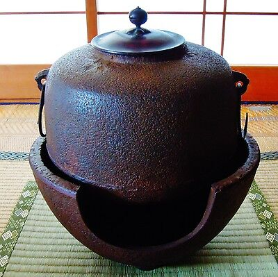 Japanese iron tea kettle Chagama Tea Ceremony Iron/bronze lid 0514003