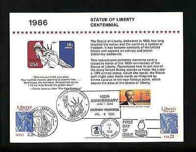 US FDC #2224 Unknown USPS Souvenir Card 1986 NY/NJ Statue Liberty Dual France