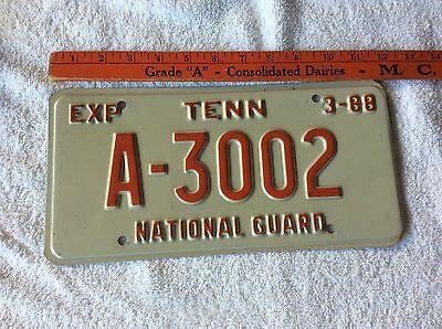 1988 Tennessee License Plate National Guard A-3002
