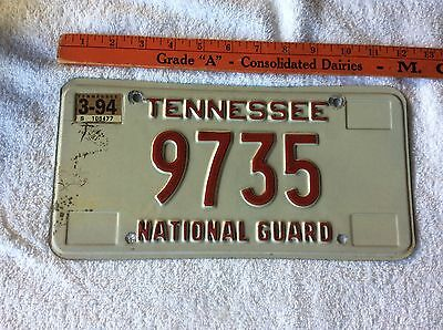 1994 Decal Tennessee License Plate National Guard 9735
