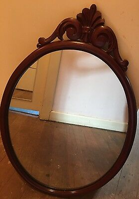 Vintage Ornate Wooden Oval Shape Mirror - Large 60cm X 40 Cm
