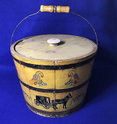 Large Pa Dutch Vintage Amish  Decorative Wooden Bucket With Handle & Lid