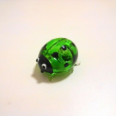 Green Ladybug Figurine Animal Hand Paint Blown Glass Decorate Collectible Gift