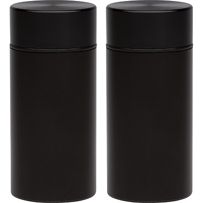 2 Stash Jars - Aluminum Herb Container - Airtight Smell Proof Container - Black