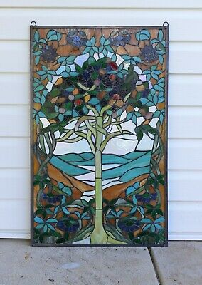 "20"" x 34"" Large Tiffany Style stained glass window panel Tree of Life"