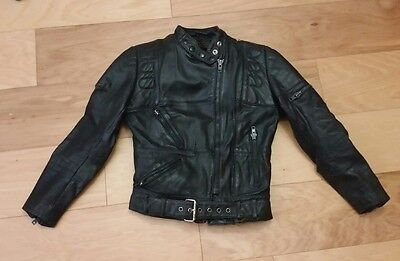 HARLEY DAVIDSON by Hein Gericke Black Leather Women's Jacket SMALL 34 Distressed