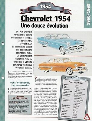 Voiture Chevrolet Bel Aire Fiche Technique Auto 1954 Collection Car Automobile