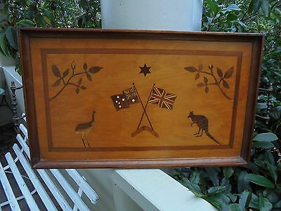 ANTIQUE AUSTRALIAN HUON PINE FEDERATION TRAY INLAID NATIVE WOODS c1900