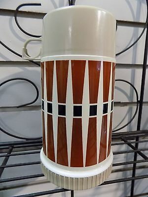 VTG 70's Mod Retro Graphic Half Pint THERMOS Soup Drink Container Brown Diamond