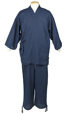 Japanese SAMUE Men's Traditional work Wear Cotton & Hemp Kimono Navy from JAPAN