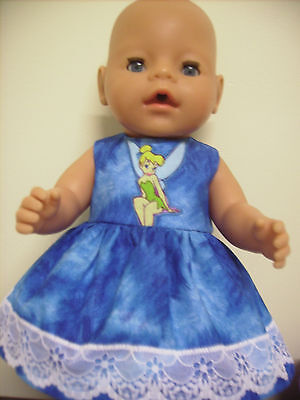 """Dolls Clothes 17"""" Baby Born Blue Dress, Tinkerbell & White lace."""