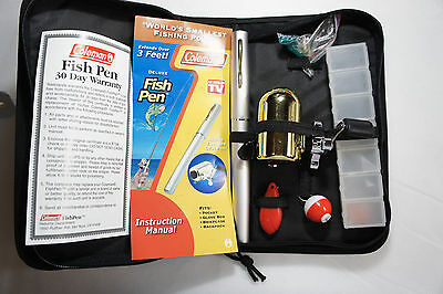 "Coleman ""World's Smallest Fishing Pole"" Deluxe Aluminum Fish Pen w/ Case More"