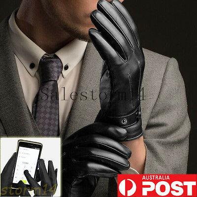 Mens Warm Driving Smartphone Touch Screen Gloves Winter Full Finger PU Leather