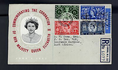 Great Britain 1953 QE11 Coronation registered airmail FDC LOURENCO MARQUES backs