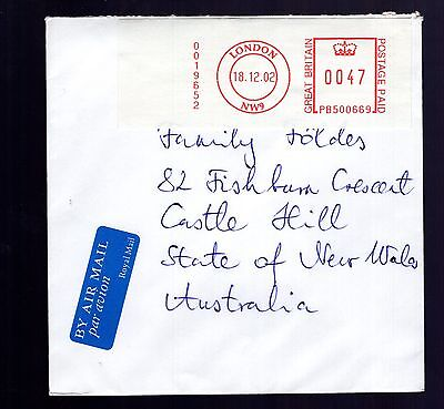 Great Britain 2002 LONDON postage paid sticker on airmail cover see scans x2