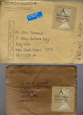 Great Britain 2x gold A Royal Mail stickers on covers to Australia see scans x2