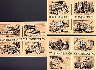 USA 3x 1972 Tourism pre-paid unused postcards see scans x2