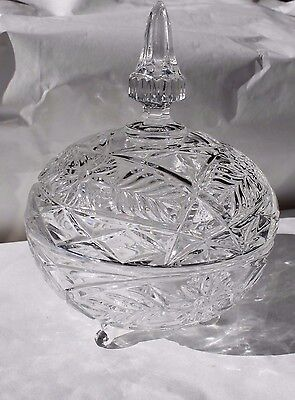 Vintage Large Crystal Bowl With Lid And Feet