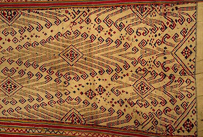 414 Antique Pua Pilih Dayak Woven Textile Art Weaving from Borneo