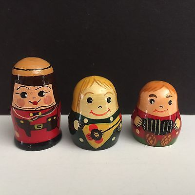 6 Wooden Thimbles Russian Nesting Dolls and Vintage