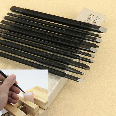 10Pcs Manganese Steel Chisel Set Stone Carving Knife Artist Woodworkers Tools