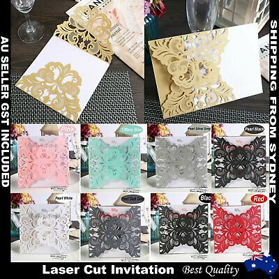 1/10/30/50 Laser Cut Wedding Invitations Classic Square Pearl Card Insert Envelo