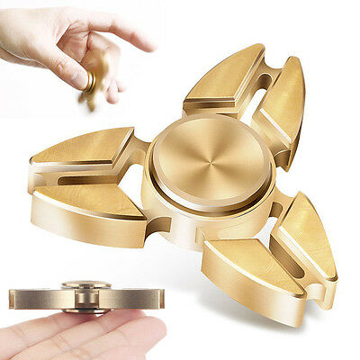 Tri Fidget Hand Spinner Triangle Brass EDC Finger Toy Gyro Focus ADHD Autism UK