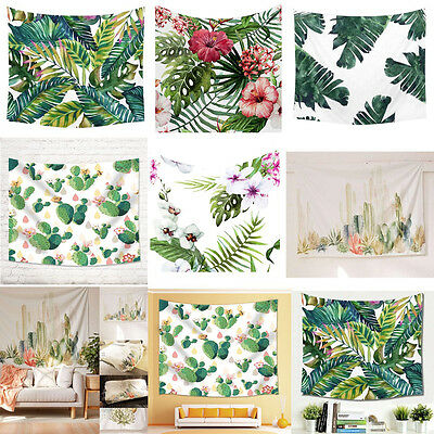 Cactus Leaves Tapestry Wall Hanging Bohemian Bedspread Throw Home Decor Mat