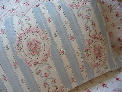 Fabulous Antique French Fabric Pillow  Antique French Linen Pink Roses