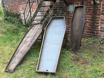 Original Antique Mortuary Wooden Body Boards x 3 and 2 trestles circa 1800's