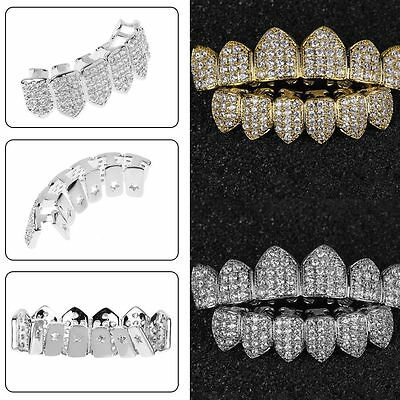 Gold/Silver Plated W/Simulated Diamonds Top & Bottom GRILLZ Mouth Teeth Grills