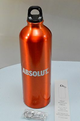 New Absolut Vodka Orange 24oz Aluminum Water Bottle + Carabiner Clip Collectible