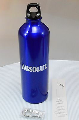 New Absolut Vodka Blue 24oz Aluminum Water Bottle + Carabiner Clip Collectible
