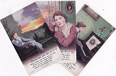 """WWI  - """"Dream-time and you""""  'Song' Cards from Bamforth Ltd. (Set of three)"""