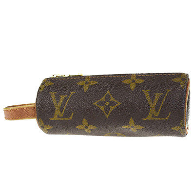 Auth LOUIS VUITTON Pochette Etui Golf Ball Bag 3 Monogram Leather M58249 03V1079
