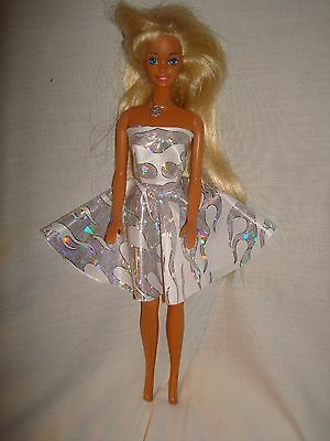 Full Circle Handmade Strapless Lycra Dress  FIt Barbie & Fashion Dolls white fla