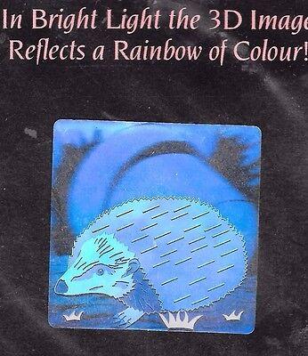 A.H. Prismatic Hedgehog Hologram Sticker Rare 1990's Vintage 3D rainbow of color