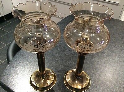 Vintage 2 Victorian Candle Lamps With Glass Shades Vgc