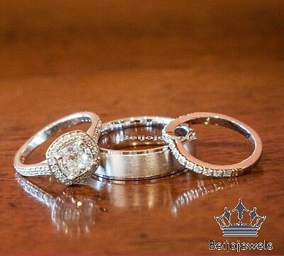 1.80 Ct Diamond Engagement Ring Wedding Trio Set For His And Her 14K White Gold