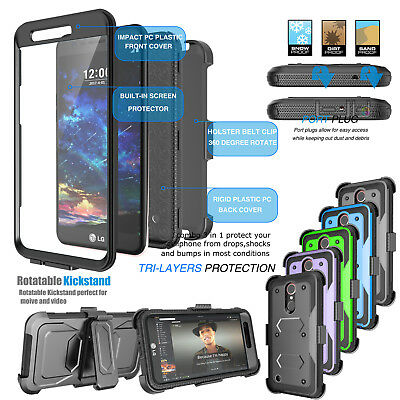 brand new 7f1a1 09fc5 FOR LG K20 Plus/K20 V/LG K10 Clip Holster Case Cover W/Built-in Screen  Protector