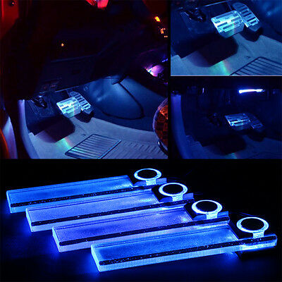 Blue Car Decorative Interior Lights LED Charge Floor Decoration Lamp 4 In 1 Hot