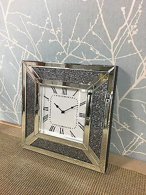 Diamond Glitter Sparkly Mirrored Glass Sparkly Glitz Square Wall Clock 40 x 40cm