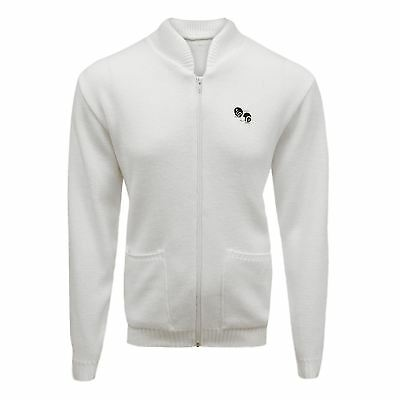 New Mens Lawn Bowls Bowling Pockets Zip White Knitted Cardigan Jumper Jacket